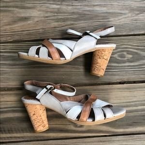 Kickers Artiste Grey Camel White Leather Sandals